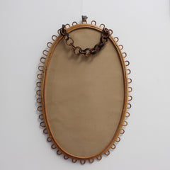 Italian Rattan and Bamboo Wall Mirror (circa 1960s)