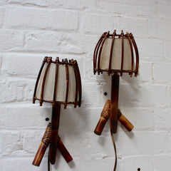 Vintage Rattan Sconce Light Pair
