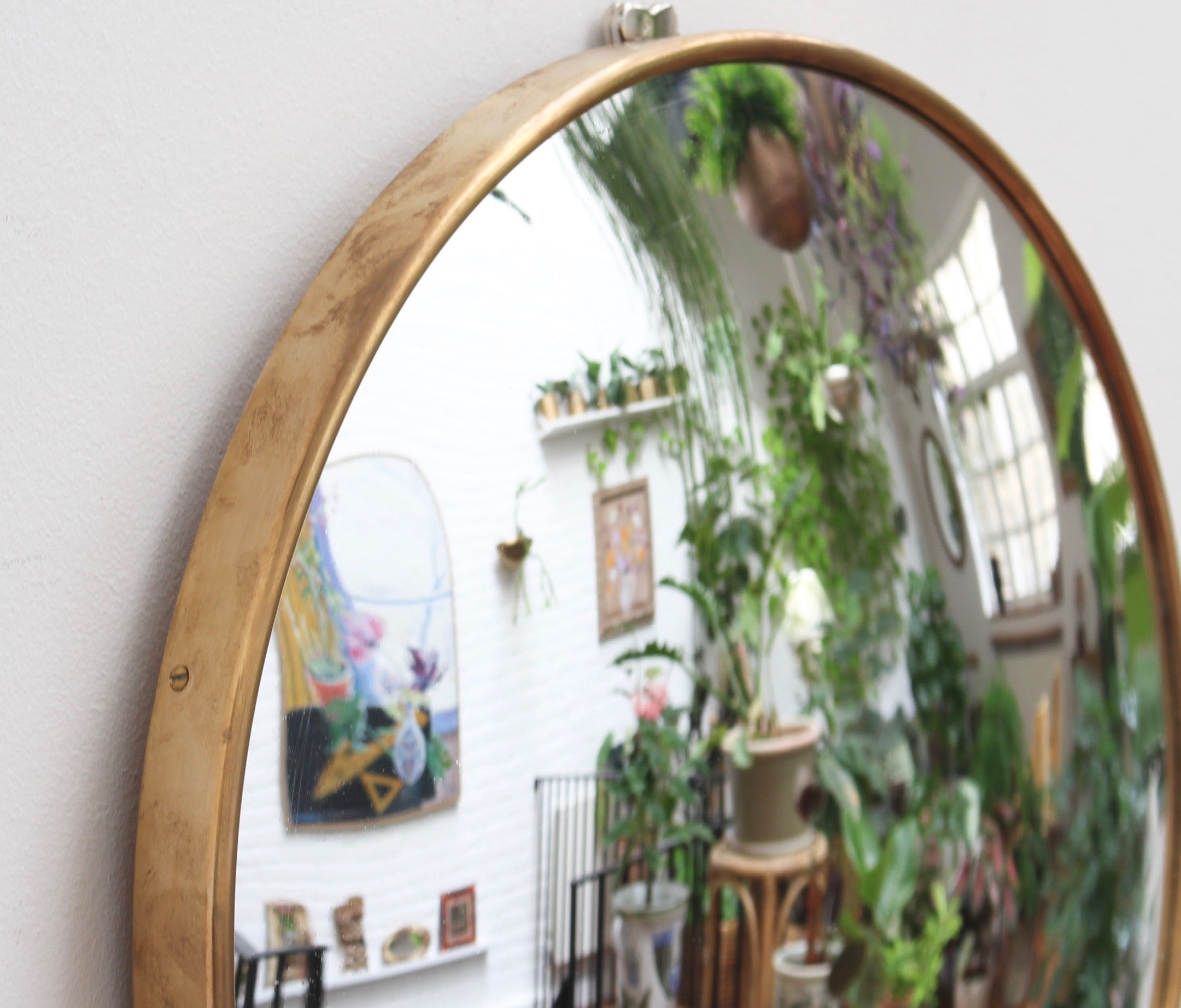 Mid-Century Italian Convex Wall Mirror with Brass Frame (circa 1950s)