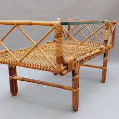 Italian Bamboo and Rattan Coffee Table with Glass Top (circa 1960s)