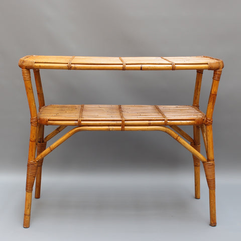 Bamboo and Rattan Console Table (circa 1960s)