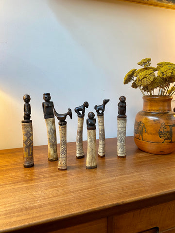 Set of Seven Wood and Bone Lime Powder Holders for Betel Nut from W. Timor Island, Indonesia (circa 1940s - 1960s)