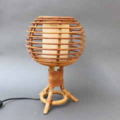 Mid-Century French Rattan Table Lamp (circa 1960s)