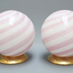 Pair of Pink Murano Glass Globe Table Lamps (Circa 1960s)