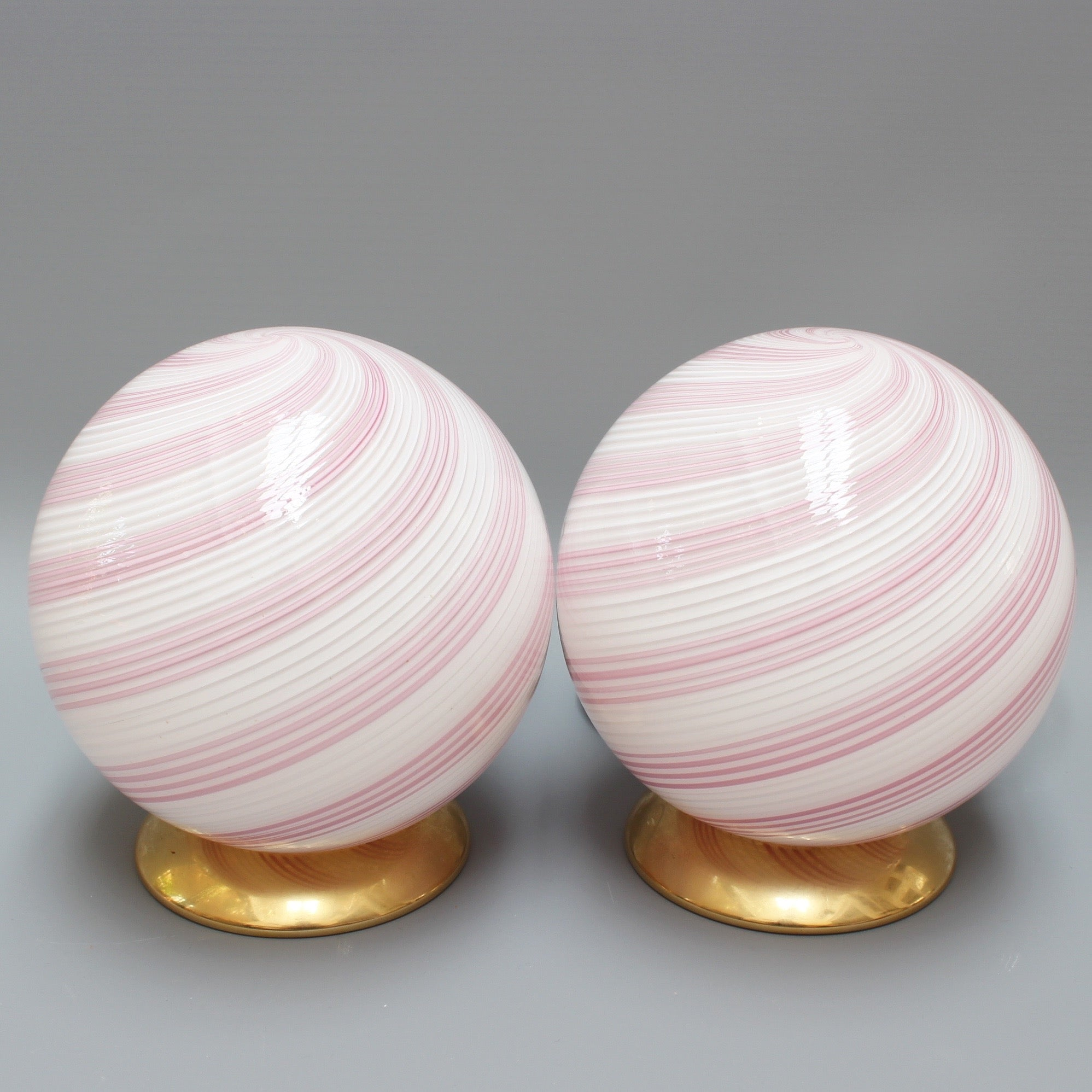 Pair of pink murano glass globe table lamps circa 1960s bureau pair of pink murano glass globe table lamps circa 1960s aloadofball Gallery