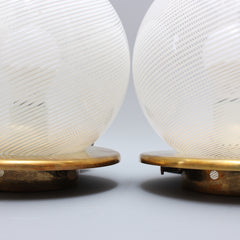 Pair of Blown Murano Glass Globe Table Lamps (Circa 1950s)