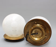 Pair of Blown Murano Glass Globe Table Lamps by Venini (Circa 1950s)