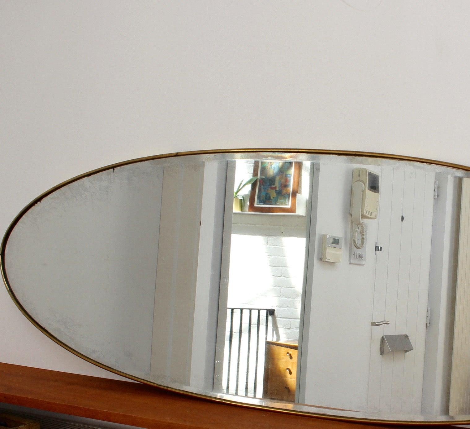 Oblong Italian Wall Mirror with Brass Frame (circa 1950s)