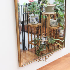 Mid-Century Italian Wall Mirror with Brass Frame and Top & Bottom Flourishes (circa 1950s)