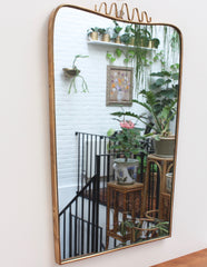 Mid-Century Italian Wall Mirror with Brass Frame and Top Flourish (circa 1950s)