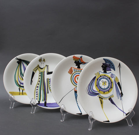 Set of Four Decorative Plates by Roger Capron (Circa 1950s)