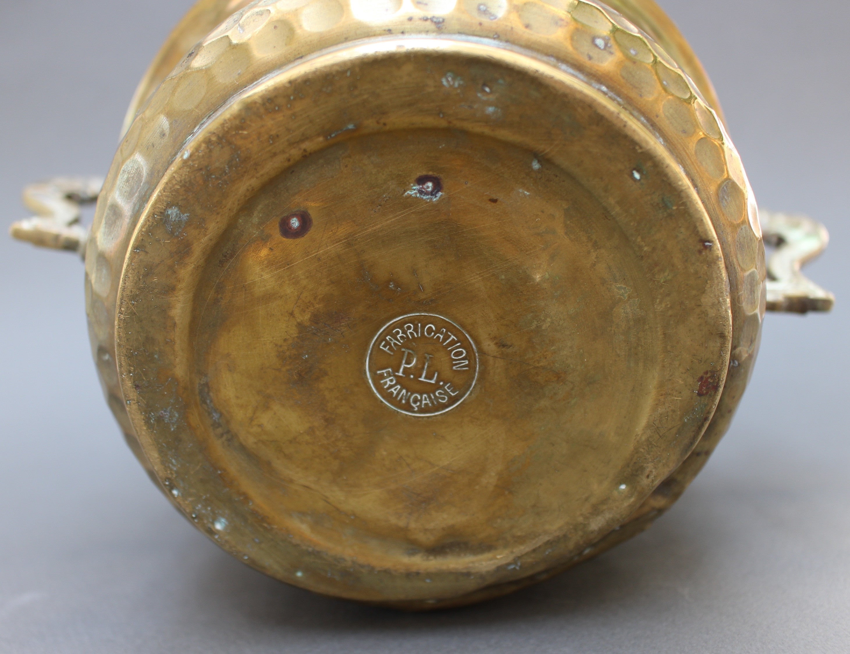 Vintage French Round Brass Pot (c. Early 20th Century)