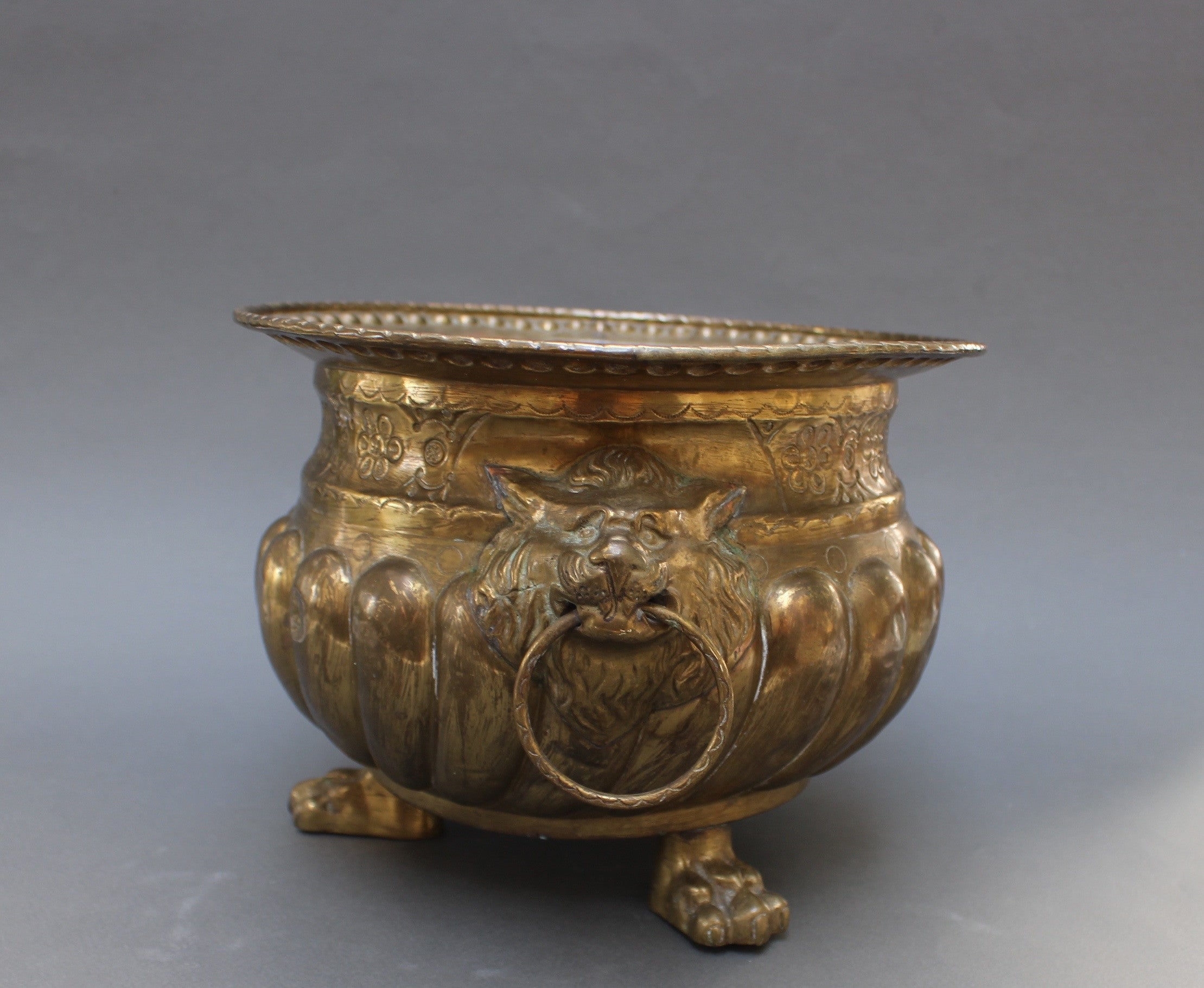 Three-Legged French Brass Pot with Lion Motif (c. Early 20th Century)