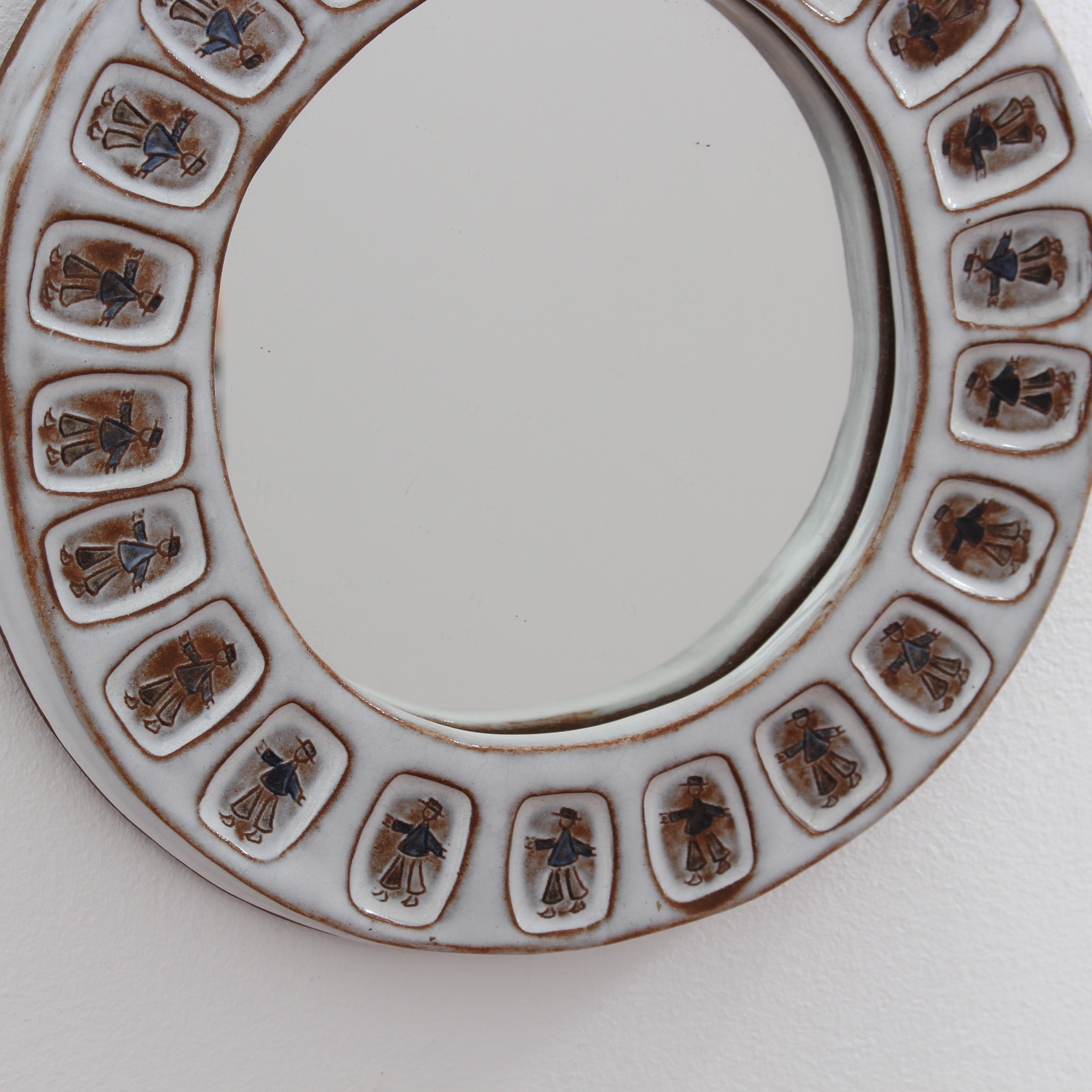 Ceramic Decorative Wall Mirror with Breton Motif (circa 1970s)
