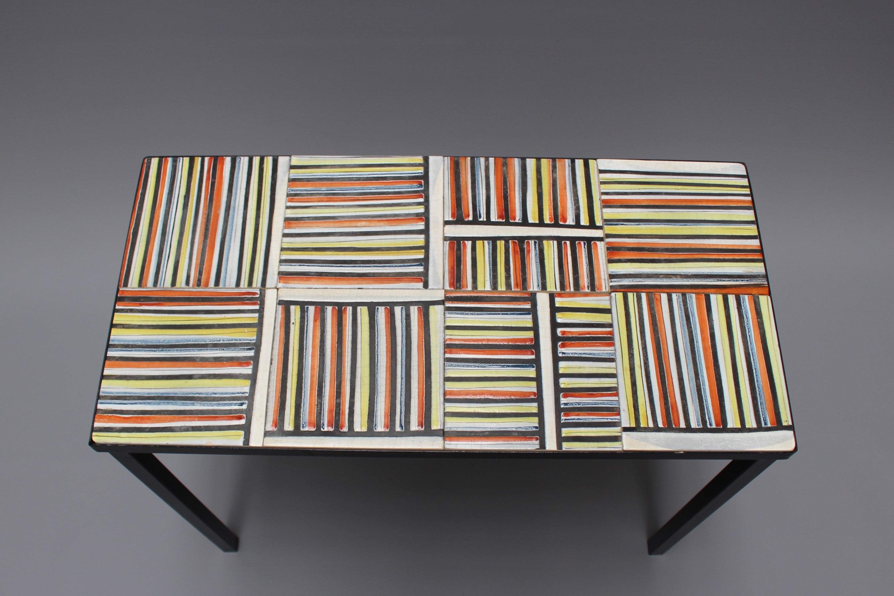 Coffee Table With Pyjama Ceramic Tiles by Roger Capron c 1950s