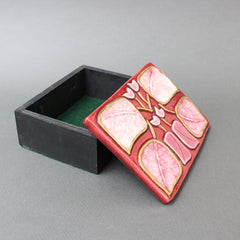 Jewellery Box with Decorative Enamel Lid by François Lembo (circa 1960s)