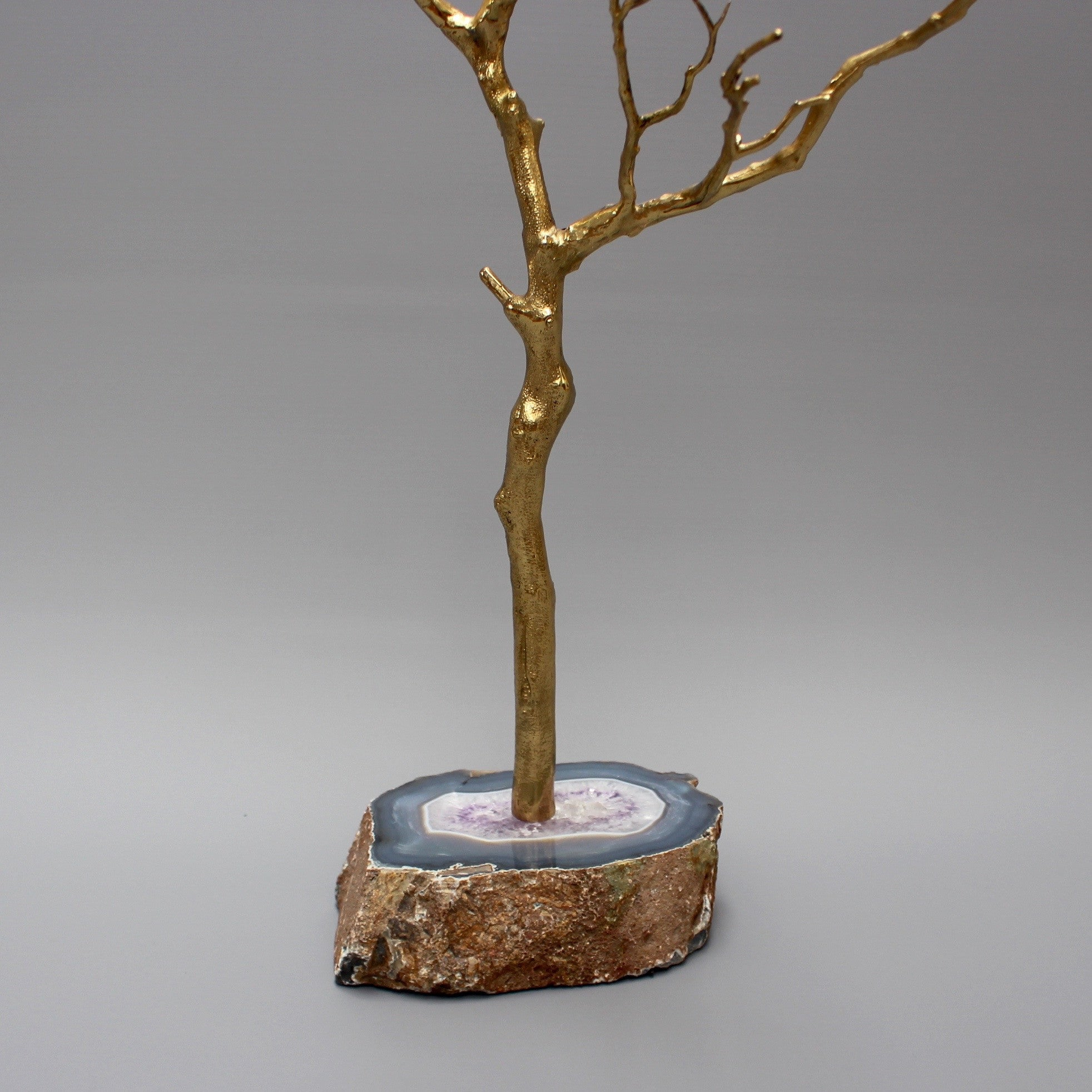 Large Brass and Agate Decorative Tree / Jewellery Display Tree