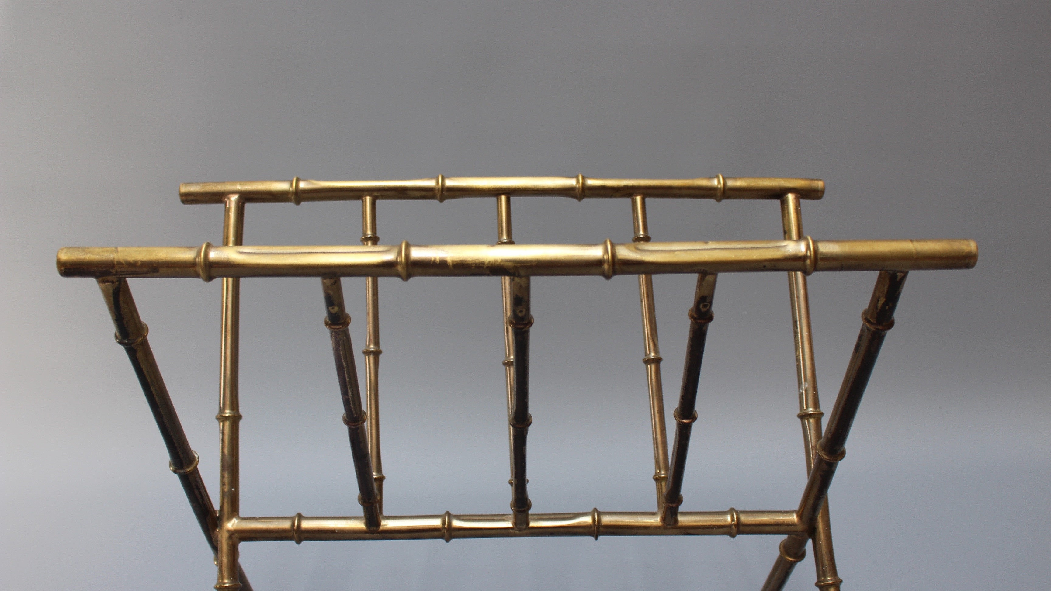 Brass 'Bamboo' Magazine Rack in the Style of Jacques Adnet (c. 1950s)