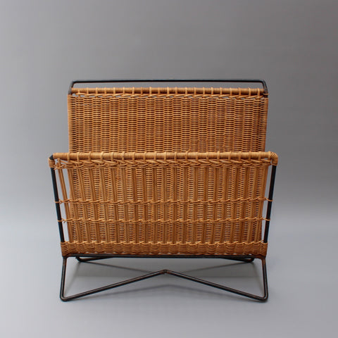 Italian Vintage Wicker and Metal Magazine Rack (c. 1960s)