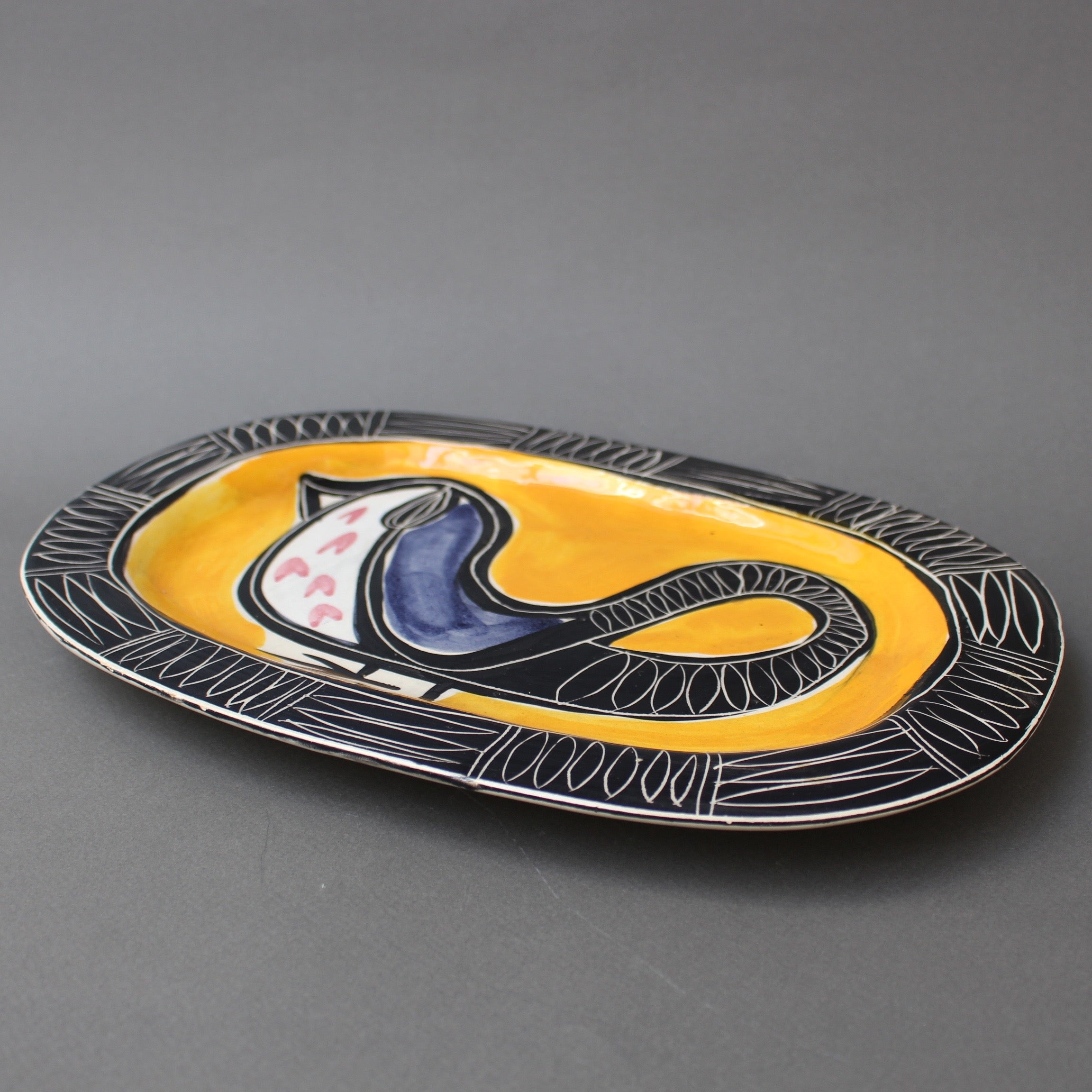 Ceramic Decorative Platter with Bird Motif by Jacques Pouchain (circa 1950s)
