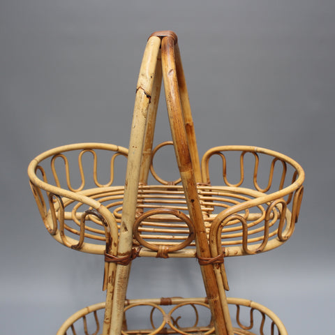 Mid-Century Dutch Rattan Drinks Rack (c. 1960s)