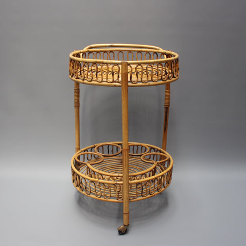 Vintage French Rattan Drinks Trolley (c. 1960s)