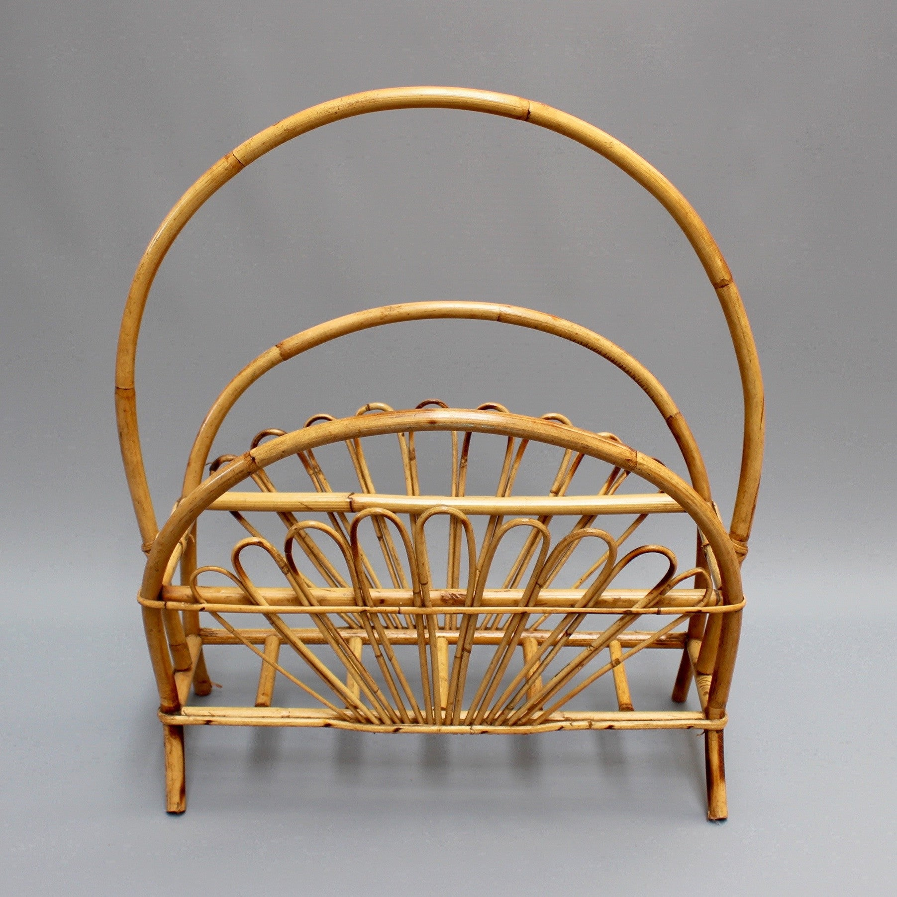 Mid-Century Bamboo and Rattan Magazine Rack