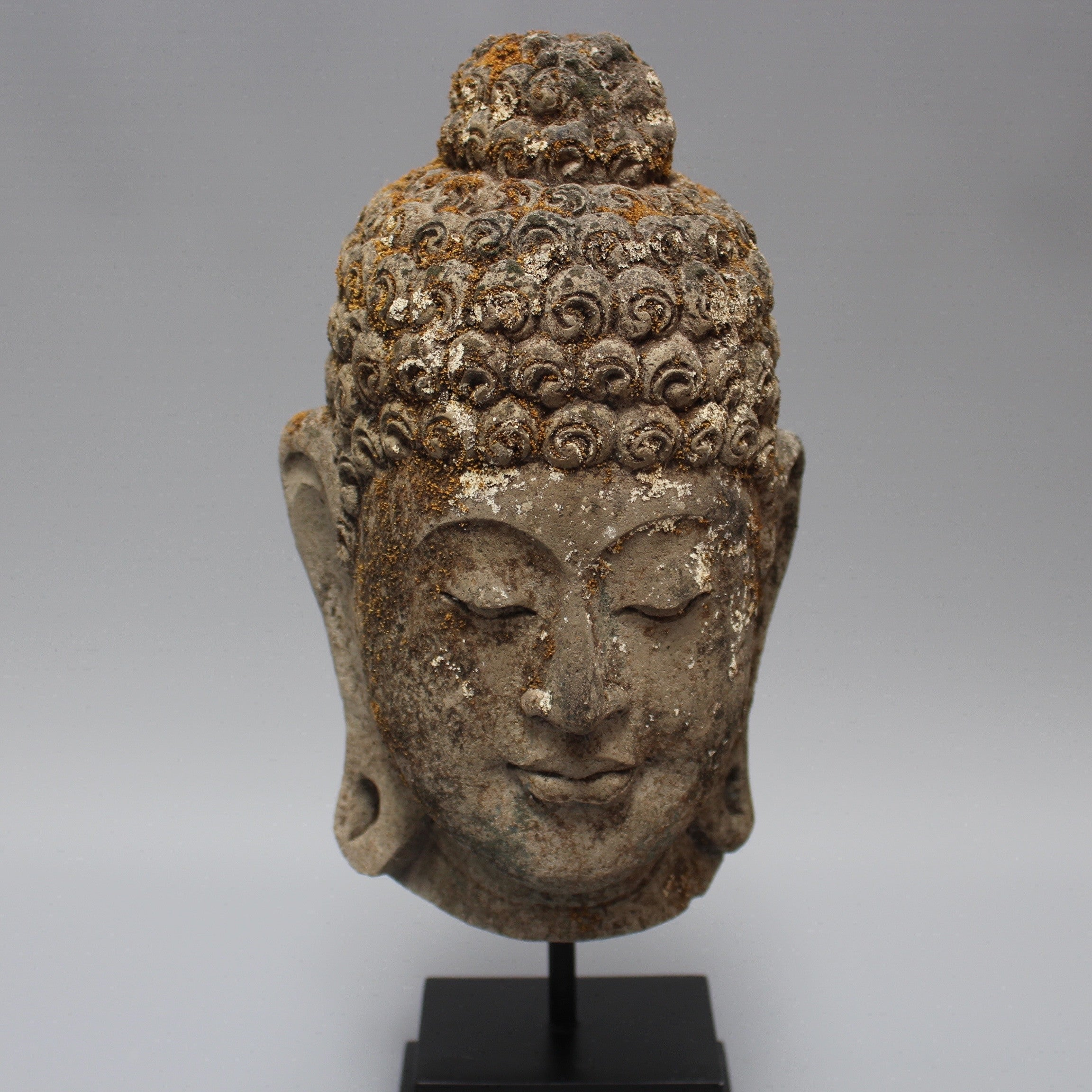 Vintage Balinese Buddha Head on Contemporary Stand (c. 1940s)