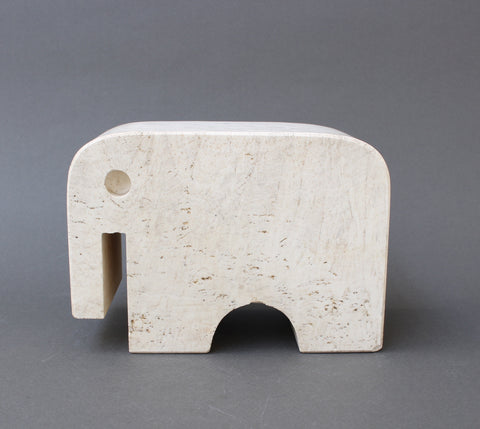Italian Travertine Elephant Sculpture by Fratelli Mannelli (Circa 1970s)