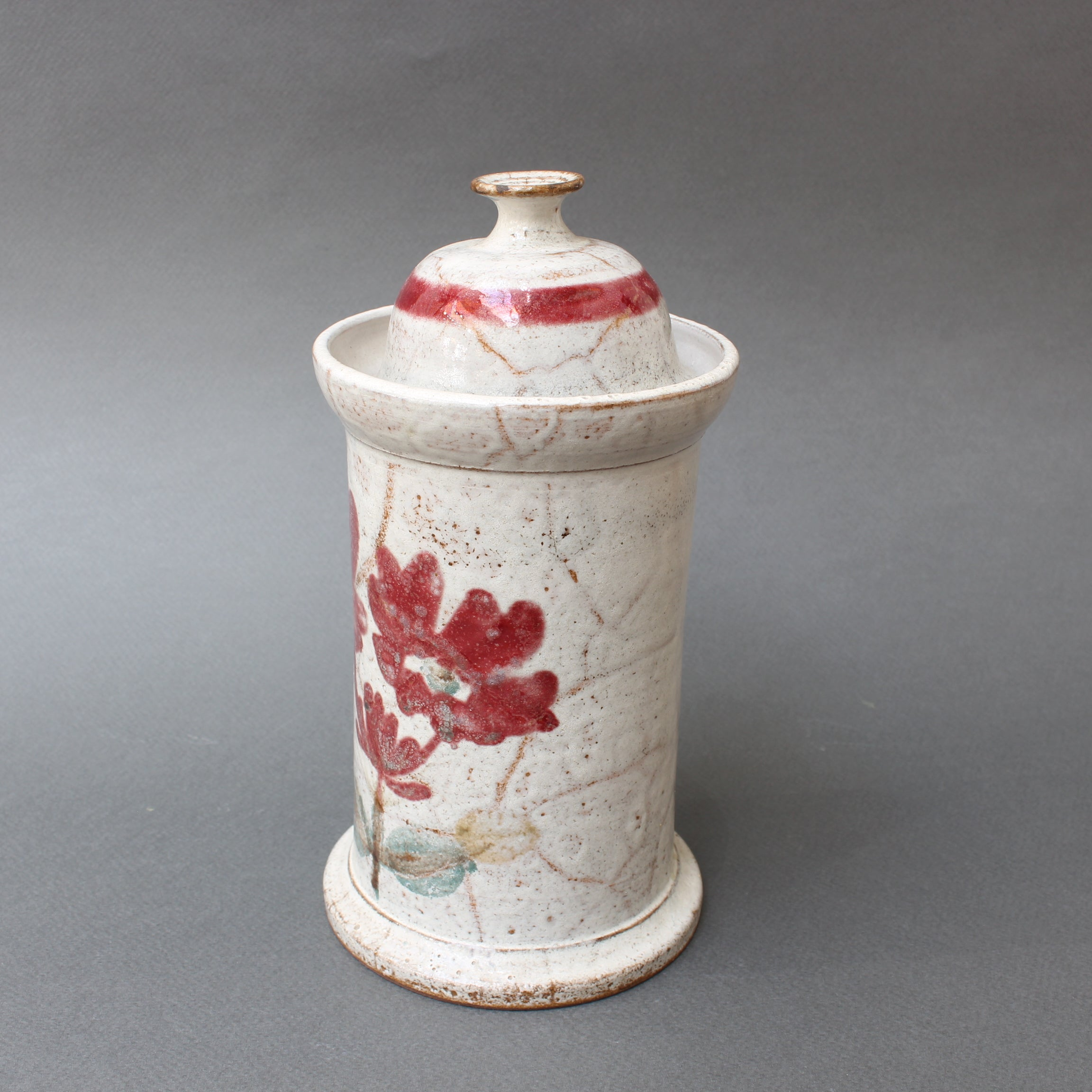 Mid-Century French Ceramic Apothecary Jar by Gustave Reynaud, Le Mûrier (circa 1950s)