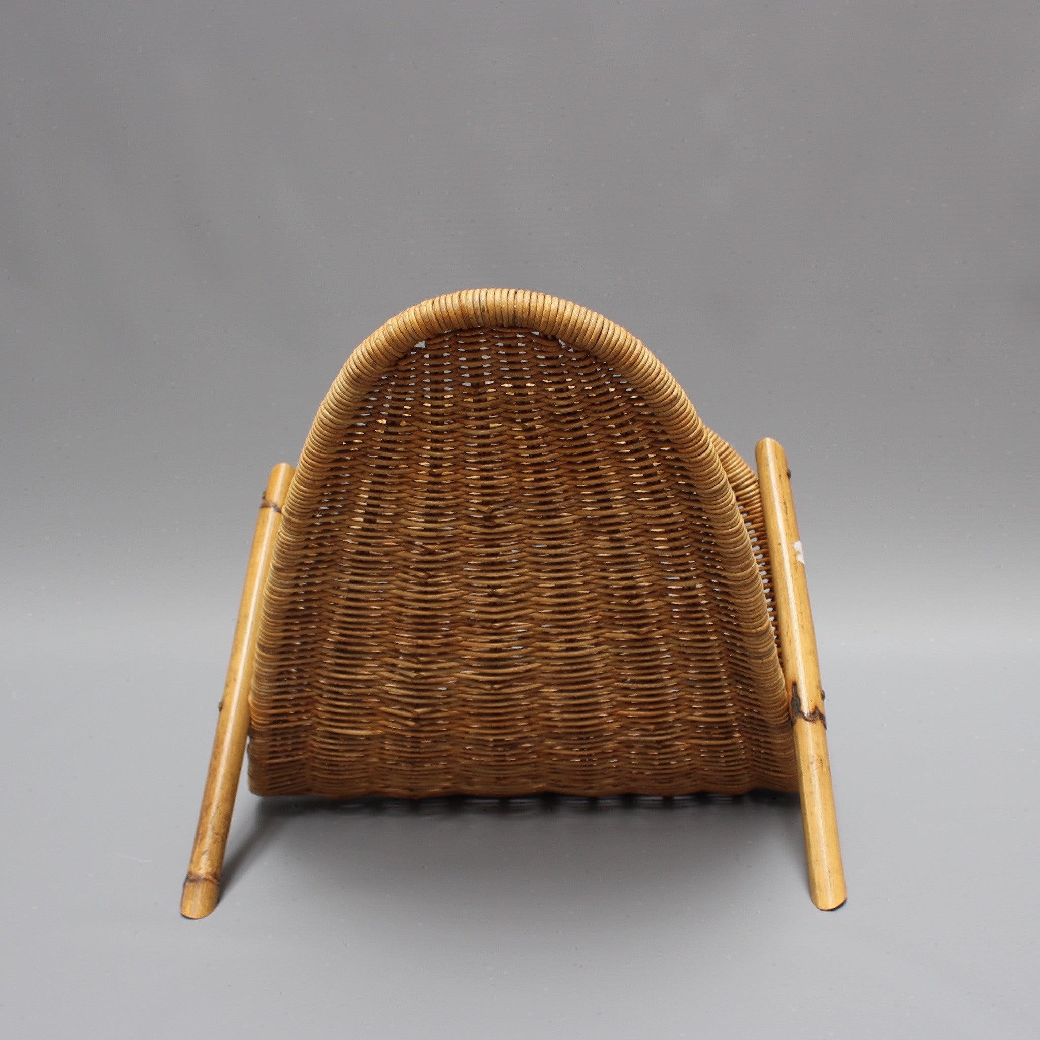 Bamboo and Wicker Vintage Magazine Rack (c. 1960s)