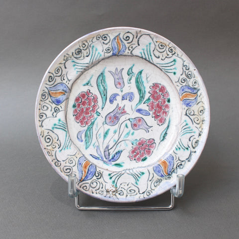 French Iznik-Inspired Ceramic Decorative Plate by Édouard Cazaux (circa 1930s)