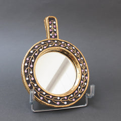 Ceramic Hand Mirror with Flower Bud Motif by François Lembo (circa 1960s)