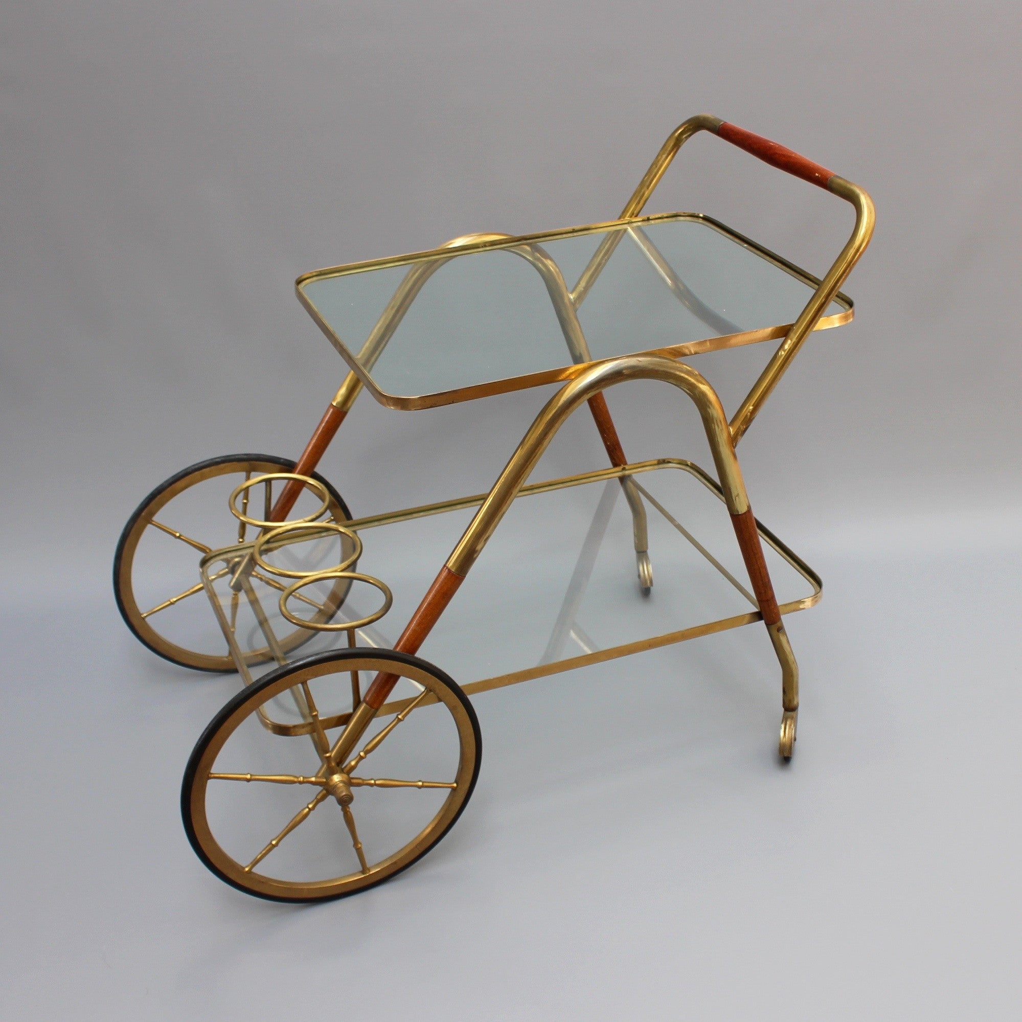 Brass Serving Trolley with Wood Trim by Cesare Lacca (c. 1950s)