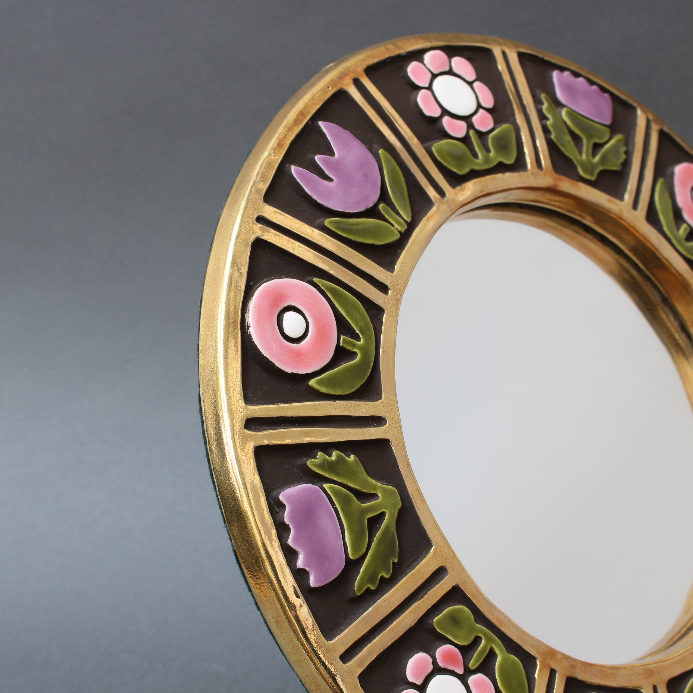 Ceramic Wall Mirror with Flower Motif by François Lembo (circa 1960s)