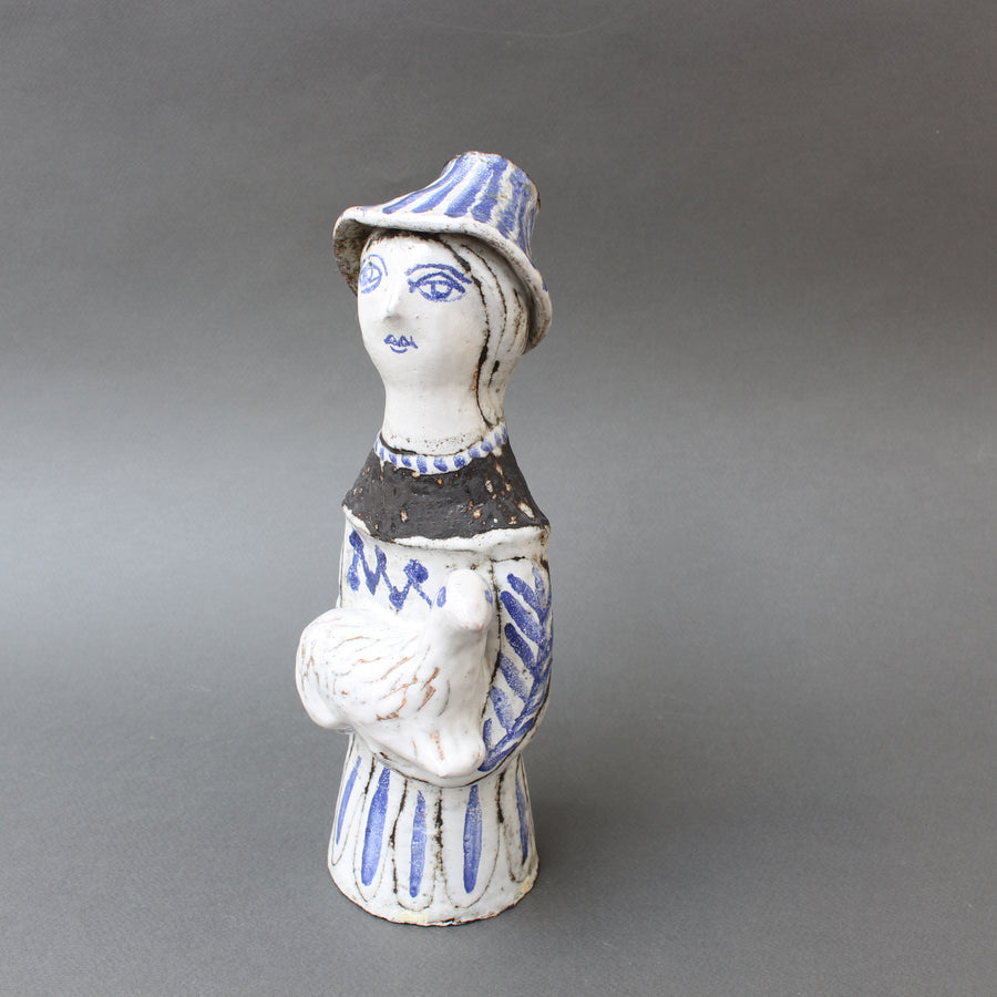 French Ceramic Man with a Lamb by Jean Derval (circa 1950s)