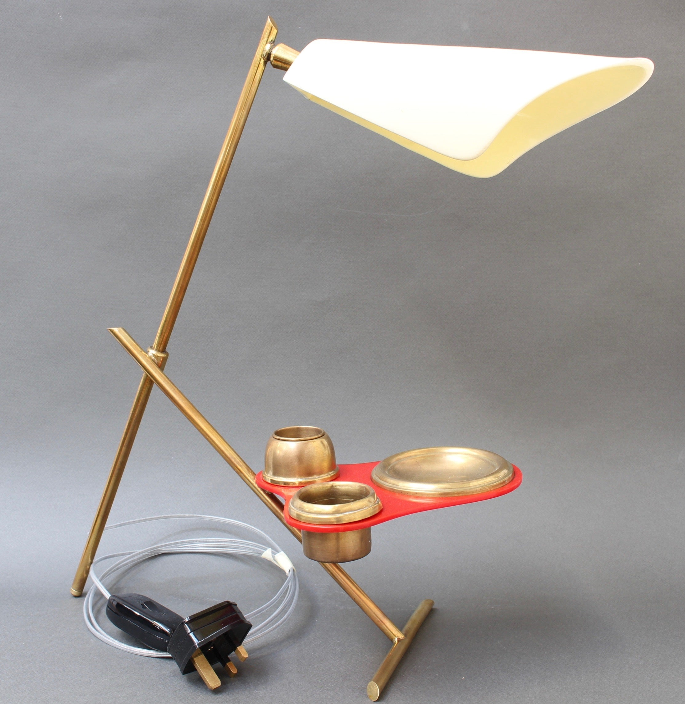 Mid-Century Italian Table Lamp with Brass Stand (circa 1950s)