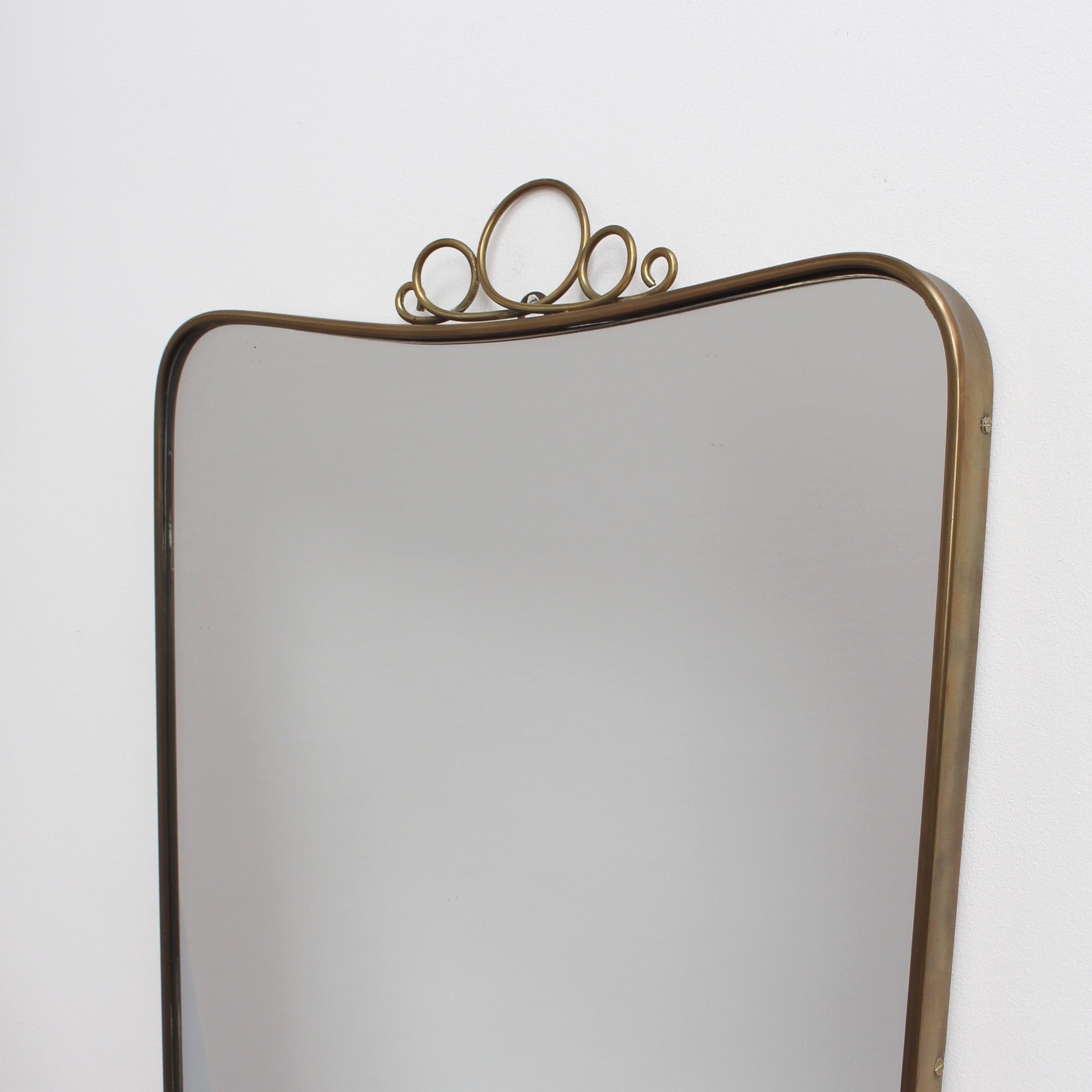 Mid-Century Italian Wall Mirror with Brass Frame by Gio Ponti (Circa 1950s)