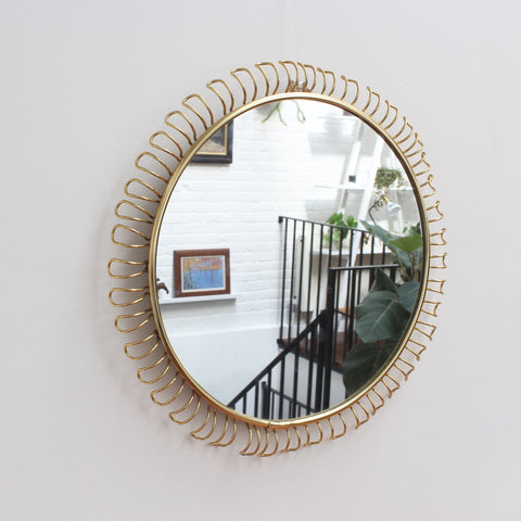 Round Wall Mirror in Brass with Decorative Surround by Josef Frank (Circa 1950s - 1960s)