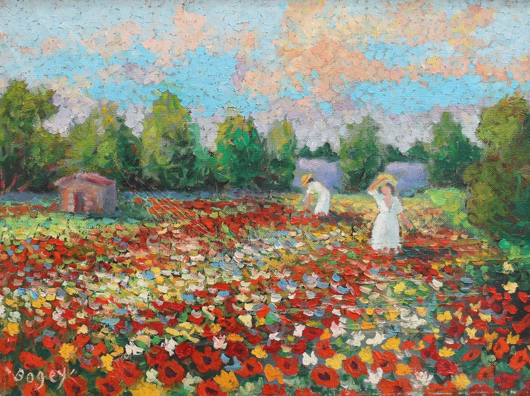 'Women Tending Flowered Field' by Antoine Bogey (circa 1960s)