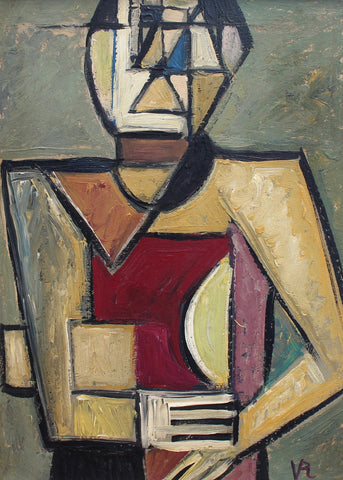 Cubist Man with Newspaper by VR (circa 1950s - 70s)