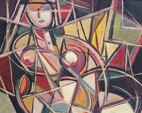 Cubist Nude in Colour, School of Berlin (circa 1950s - 70s)
