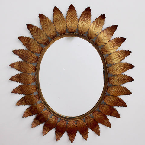 Spanish Copper Patina Sunburst Mirror (c. 1950s)