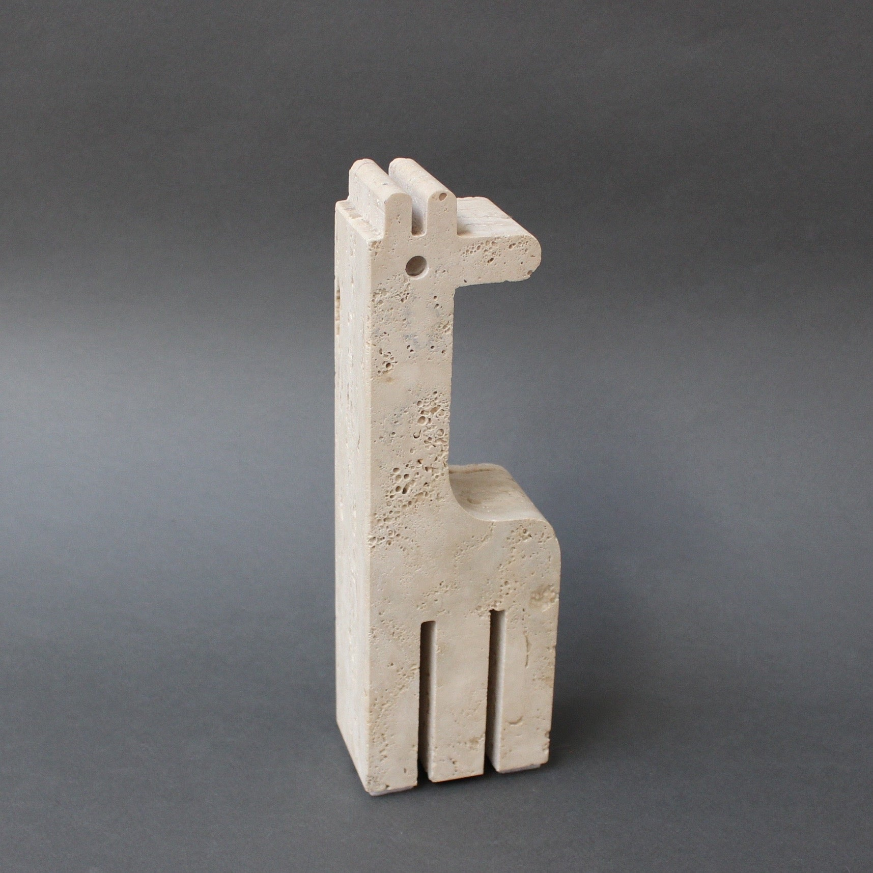 Travertine Giraffe Table Sculpture by Mannelli Bros of Florence, Italy (circa 1970s)