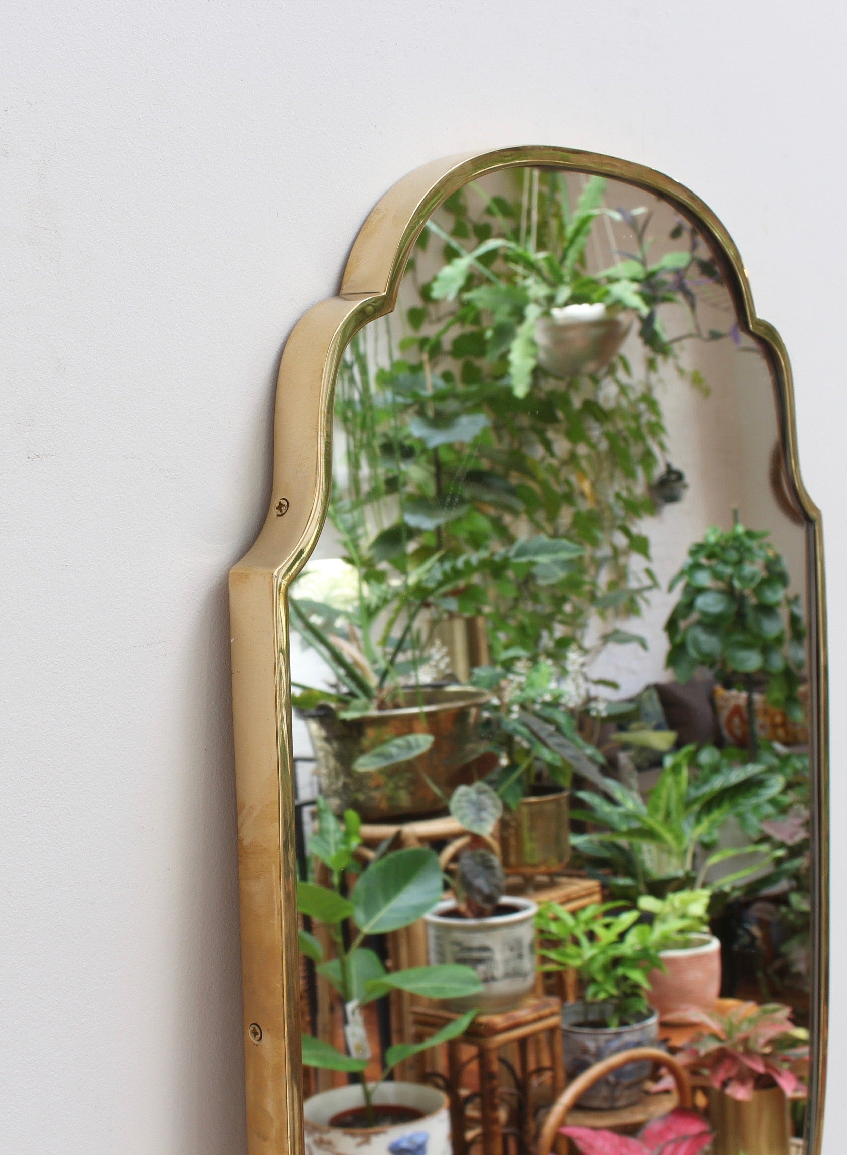 Mid-Century Italian Wall Mirror with Brass Frame (circa 1950s)