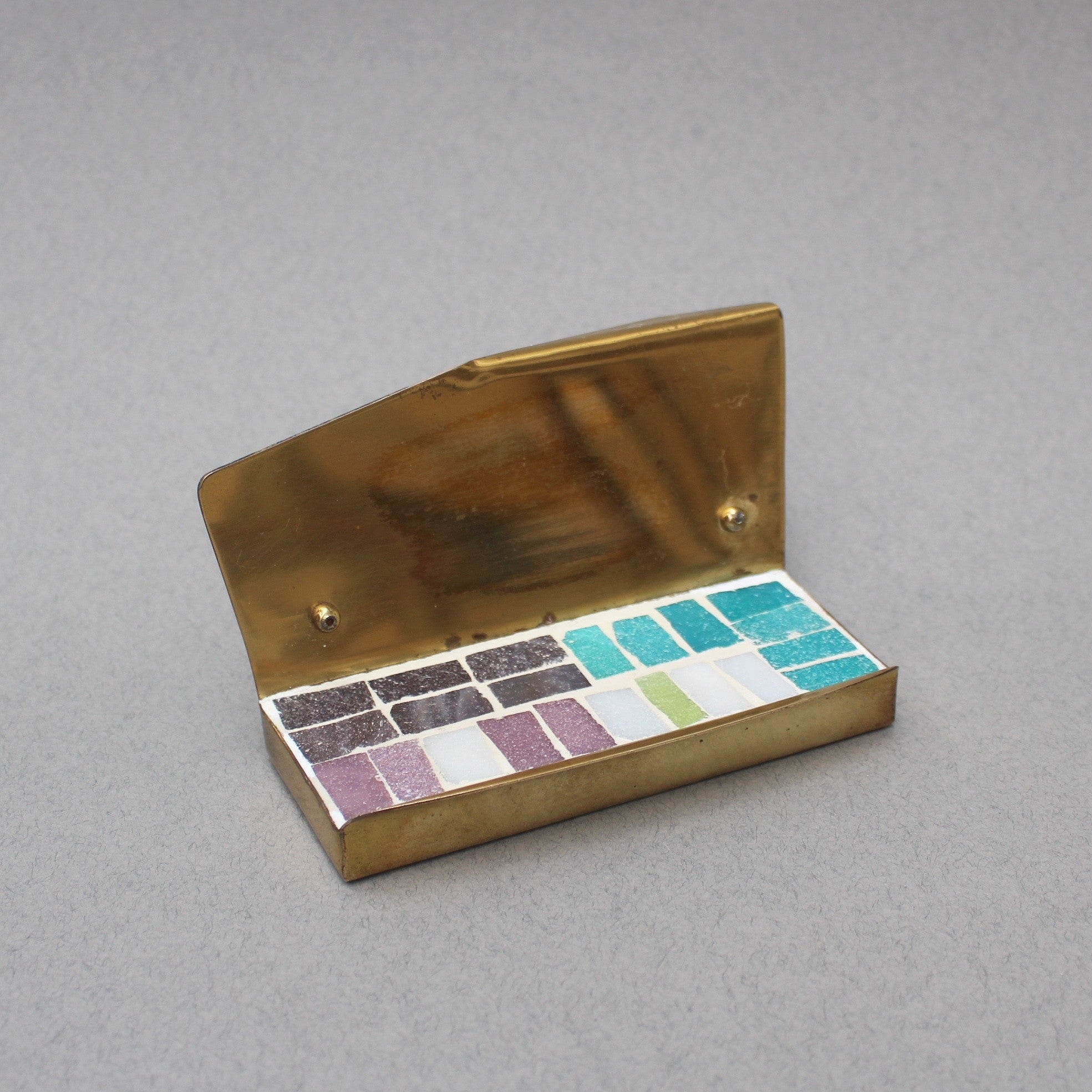 Mid-Century Brass and Mosaic Tile Desk Accessories Set (c. 1960s)