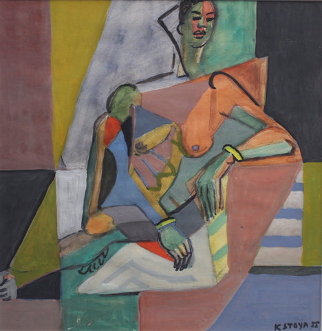 Cubist Nude Portrait of Seated Woman II by Kosta Stojanovitch (1955)
