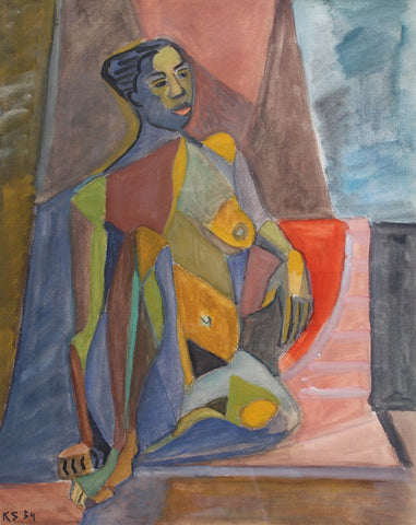 Cubist Nude Portrait of Seated Woman by Kosta Stojanovitch (1954)