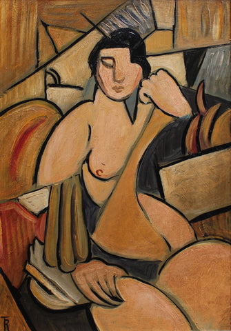 'Seated Cubist Nude' by T.R. (circa 1940s - 1950s)