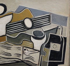 'Still Life with Guitar, Book, Pipe and Bottle' by J.G. (circa 1940s)